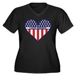 I Love America Women's Plus Size V-Neck Dark T-Shi