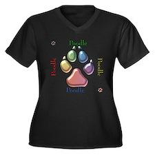 Poodle Name2 Women's Plus Size V-Neck Dark T-Shirt