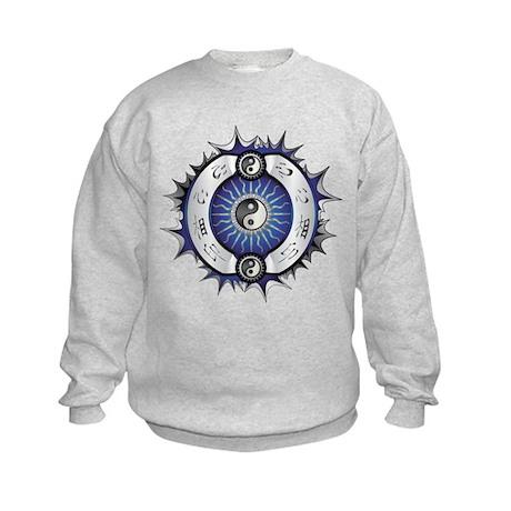 Electric Blue Yin Yang Kids Sweatshirt