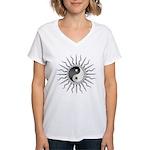 Black Starburst Yin Yang Women's V-Neck T-Shirt