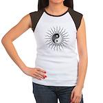 Black Starburst Yin Yang Women's Cap Sleeve T-Shir