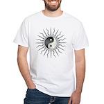 Black Starburst Yin Yang White T-Shirt