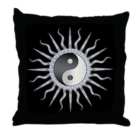 Black Starburst Yin Yang Throw Pillow
