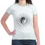 Black Starburst Yin Yang Jr. Ringer T-Shirt