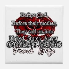 Cute Combat medic wife Tile Coaster