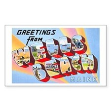 Wells Beach Maine Greetings Rectangle Decal