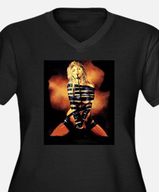 All Tied Up! Women's Plus Size V-Neck Dark T-Shirt