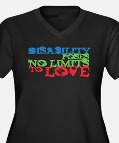 Disability + Love Women's Plus Size V-Neck Dark T-