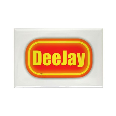 Neon Sign Deejay Rectangle Magnet