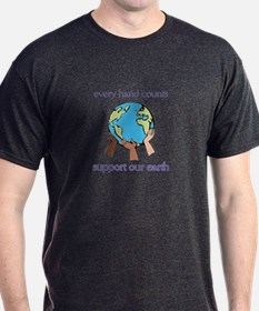 """Every Hand Counts...Support Our Earth"" T-Shirt"