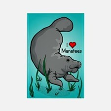 I Love Manatees Rectangle Magnet