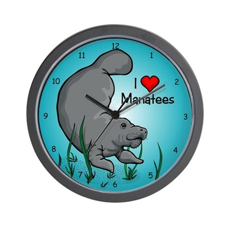 I Love Manatees Wall Clock