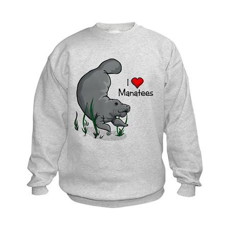 I Love Manatees Kids Sweatshirt