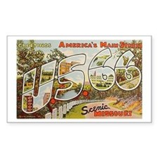 Hwy 66 Route 66 Rectangle Sticker 10 pk)