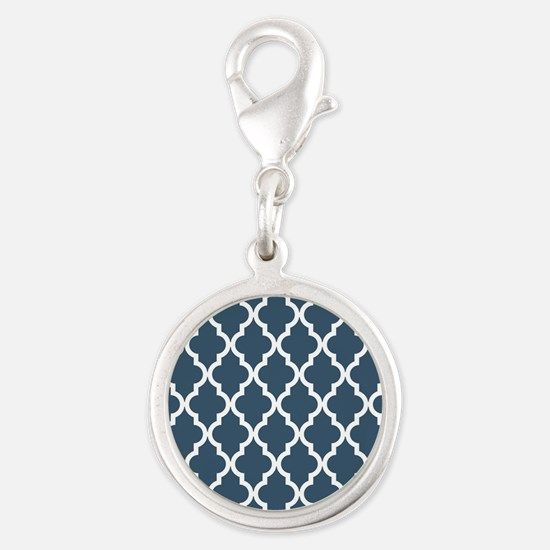 Dusky Blue Moroccan Pattern Silver Round Charm