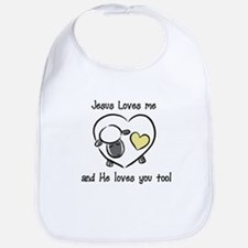 Jesus Loves Me Sheep Yellow Baby infant Bib