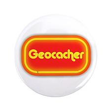 """Geocacher (neon look) 3.5"""" Button"""