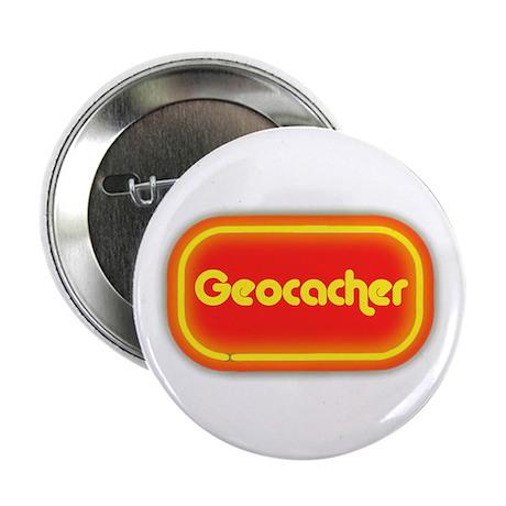 """Geocacher (neon look) 2.25"""" Button"""