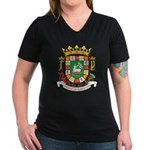 Puerto Rico Coat of Arms Women's V-Neck Dark T-Shi