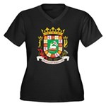 Puerto Rico Coat of Arms Women's Plus Size V-Neck