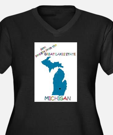 Michigan gift Women's Plus Size V-Neck Dark T-Shir