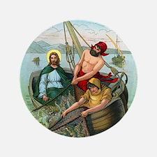 """Jesus Fishing 3.5"""" Button"""