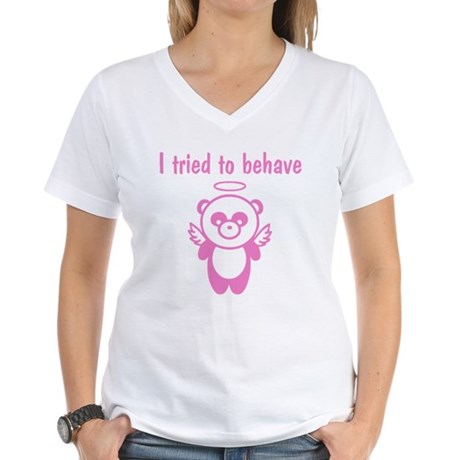 I tried to behave Women's V-Neck T-Shirt