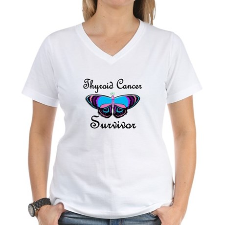 Butterfly Survivor 1 (Thyroid Cancer) Women's V-Ne