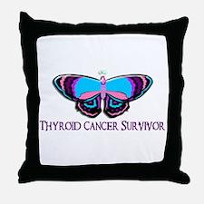 Butterfly Survivor 2 (Thyroid Cancer) Throw Pillow