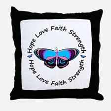 Butterfly Hope 3 (Thyroid Cancer) Throw Pillow
