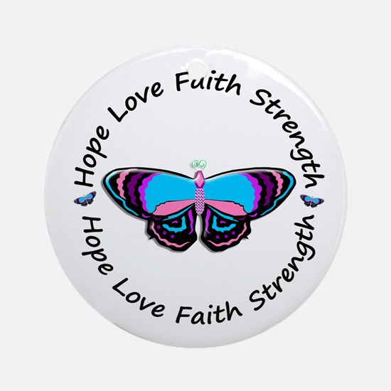 Butterfly Hope 3 (Thyroid Cancer) Ornament (Round)