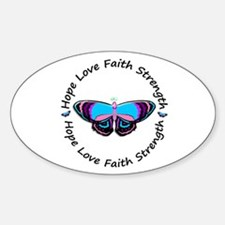 Butterfly Hope 3 (Thyroid Cancer) Oval Decal