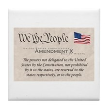 Amendment X w/Flag Tile Coaster