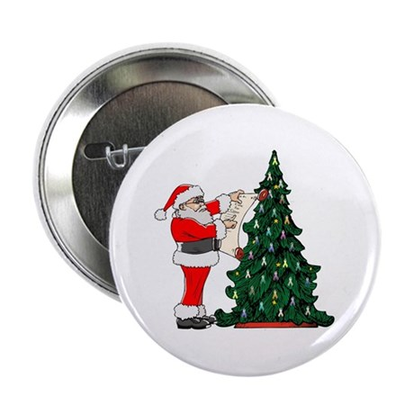 """Cancer Awarenss ribbon Christmas Tree 2.25"""" Button"""