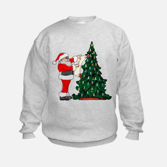 Cancer Awarenss ribbon Christmas Tree Sweatshirt