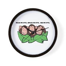 No Evil Monkeys Wall Clock