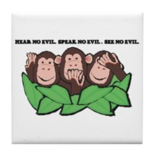 No Evil Monkeys Tile Coaster