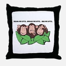 No Evil Monkeys Throw Pillow