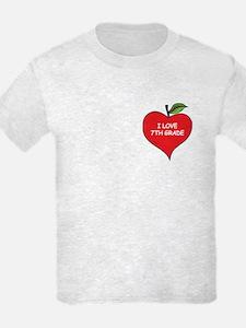Heart Apple I Love 7th Grade T-Shirt