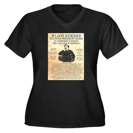 John Wilkes Booth Women's Plus Size V-Neck Dark T-