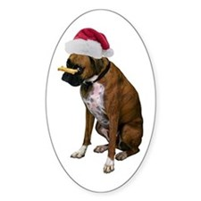 Santa Boxer Christmas Oval Decal