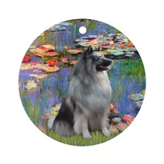 Lilies / Keeshond Ornament (Round)