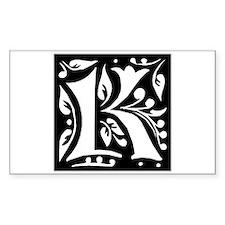 Art Nouveau Initial K Rectangle Decal