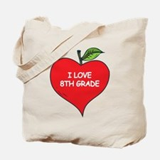 Heart Apple I Love 8th Grade Tote Bag