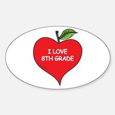 Heart Apple I Love 8th Grade Oval Decal
