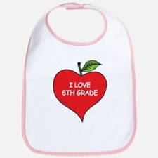 Heart Apple I Love 8th Grade Bib