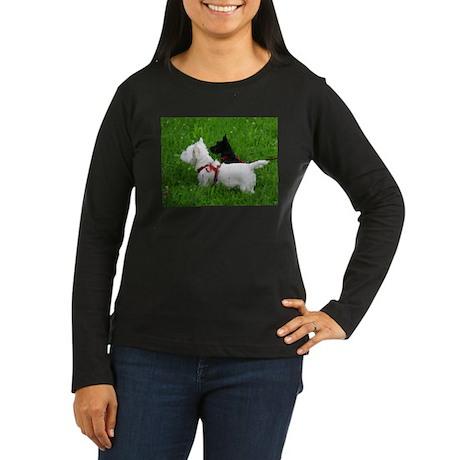 Westie and Scottie Women's Long Sleeve Dark T-Shir