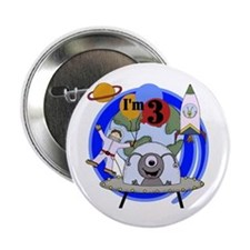 """Outer Space 3rd Birthday 2.25"""" Button"""