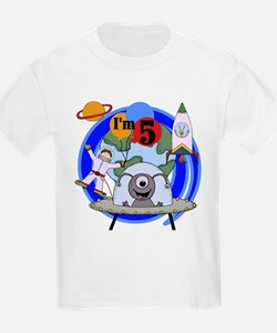 Outer Space 5th Birthday Kids T-Shirt