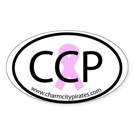 CCP Pink Ribbon Flare Oval Sticker (50 pk)